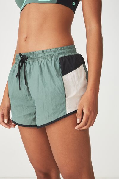 Panelled Crinkle Short, FERN GREEN