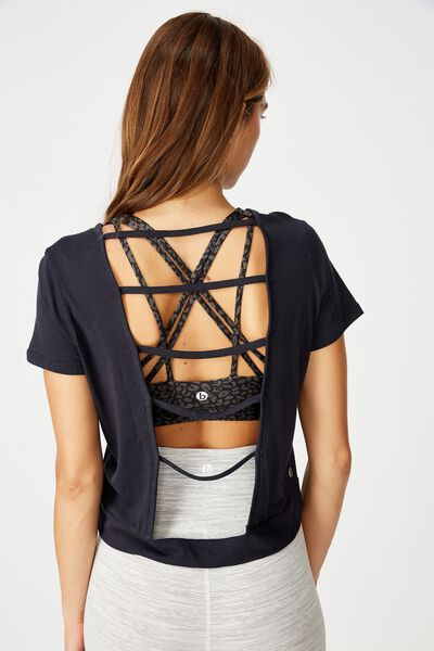 Strappy Back Tshirt, INDIGO