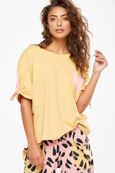 Match Back Tie Sleeve Tee, LIGHT HONEY/POCKET