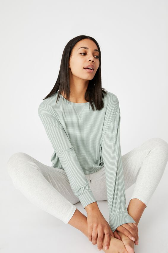 Sleep Recovery Crop Long Sleeve, BASIL GREEN STRIPE