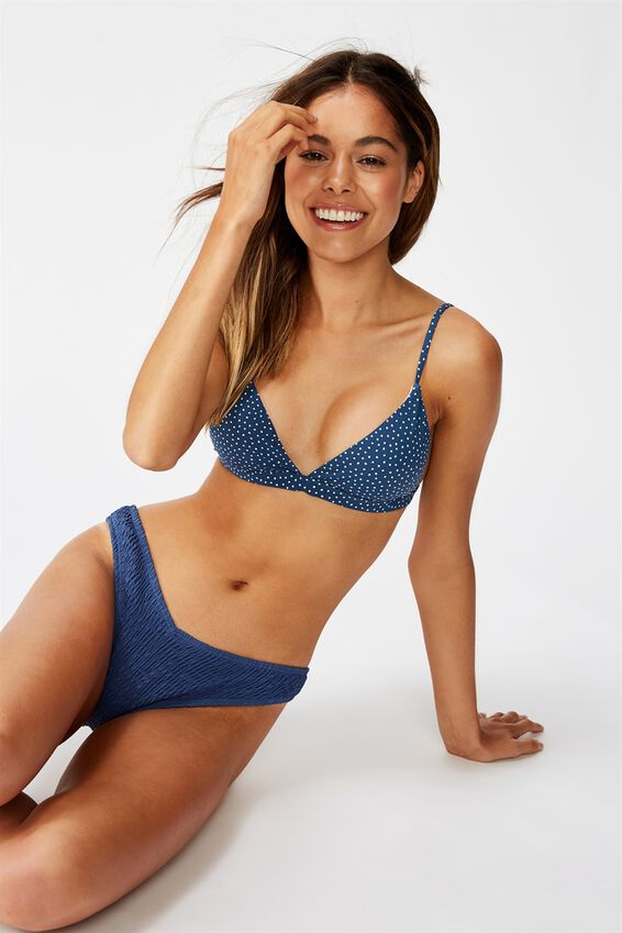 Fixed Triangle Bikini Top, MARINA BLUE IRREGULAR SPOT