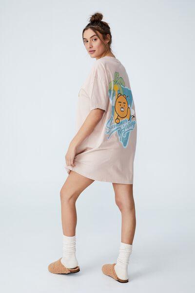 Organic Cotton 90S T-Shirt Nightie, LCN KAKAO RYAN HOLIDAY LIGHT LILAC