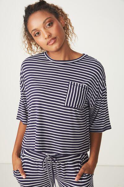 Sleep Recovery Boxy Tshirt, NAVY/WHITE STRIPE