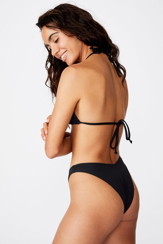 High Side Brazilian Bikini Bottom, BLACK