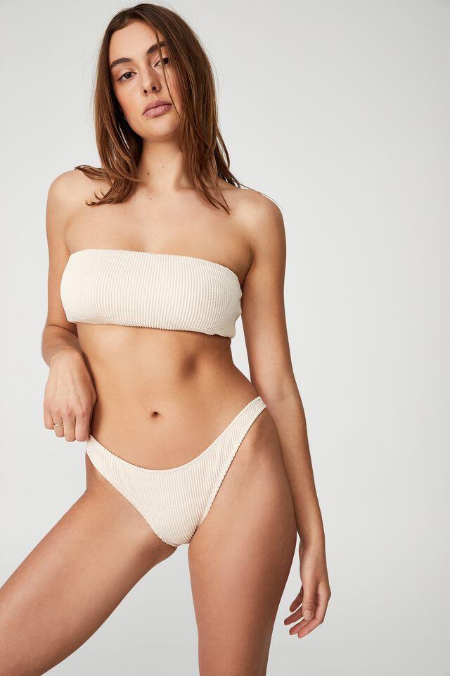 High Side Brazilian Seam Bikini Bottom, SANDCASTLE CRINKLE