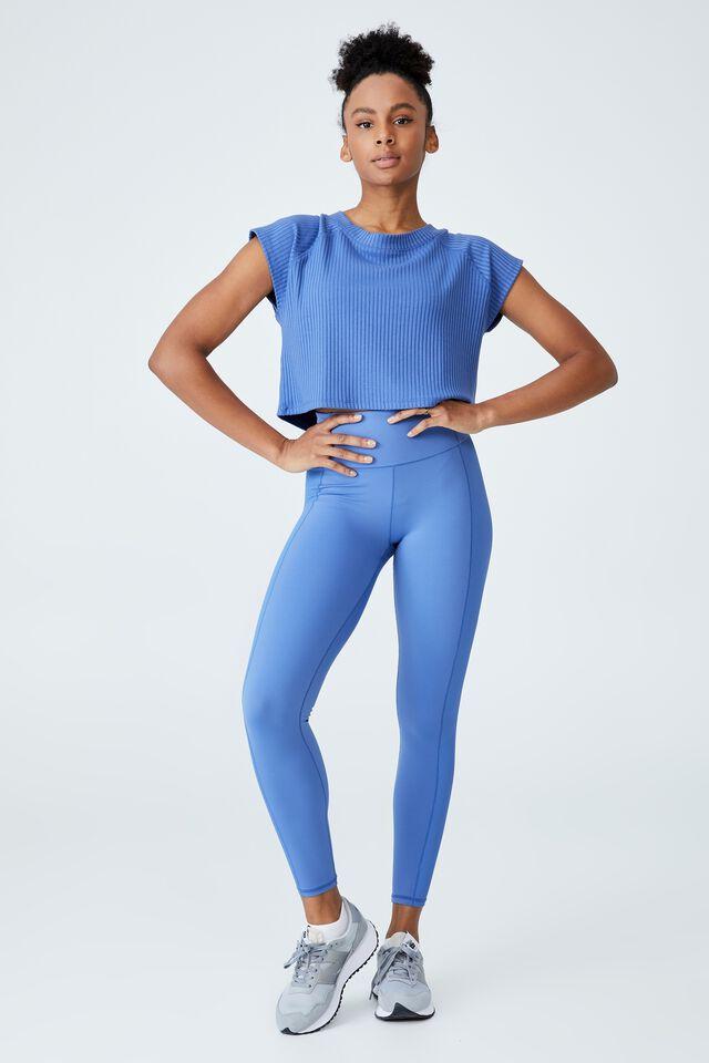 Rib Cropped T-Shirt, ANTIQUE BLUE