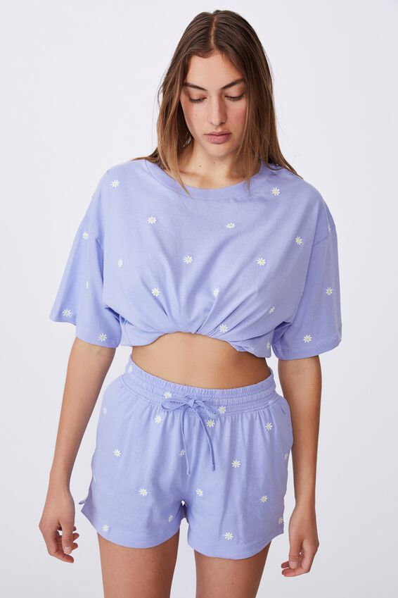 Jersey Sleep Short, DAISY/CORNFLOWER BLUE
