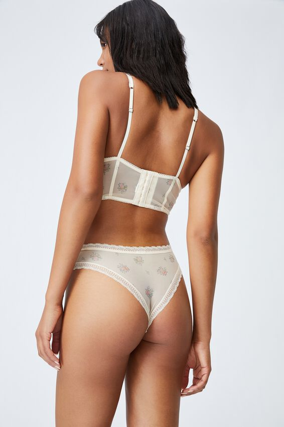 We Just Mesh Brasiliano Brief, FLORAL LACE BUTTERMILK