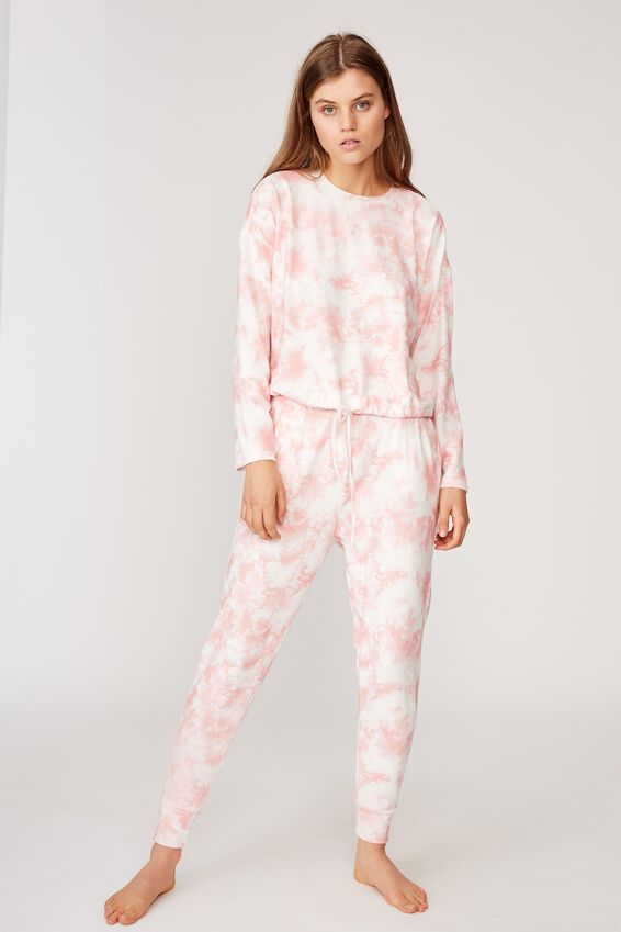 Super Soft Draw Cord Crew, CRYSTAL PINK OMBRE MARLE