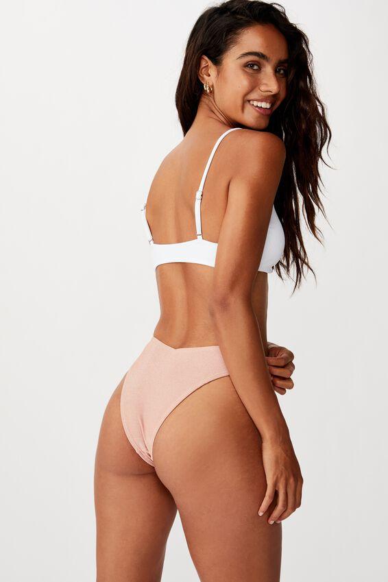 Knot Front Bralette Bikini Top, WHITE RIB 20