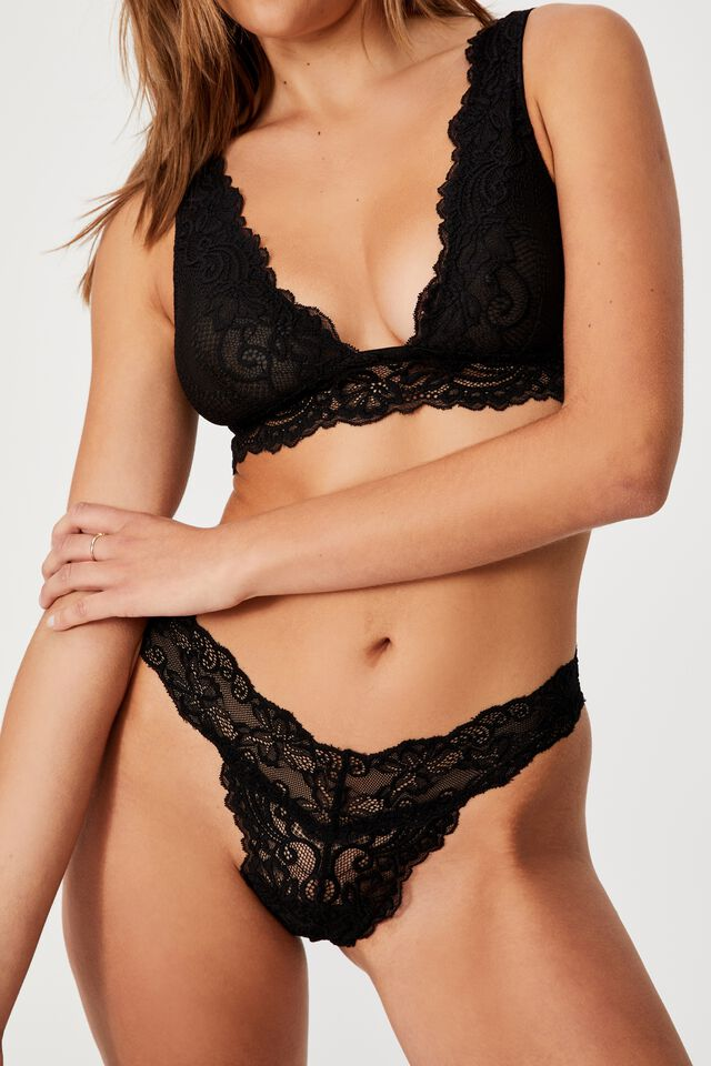 Ainsley Lace G String Brief, BLACK