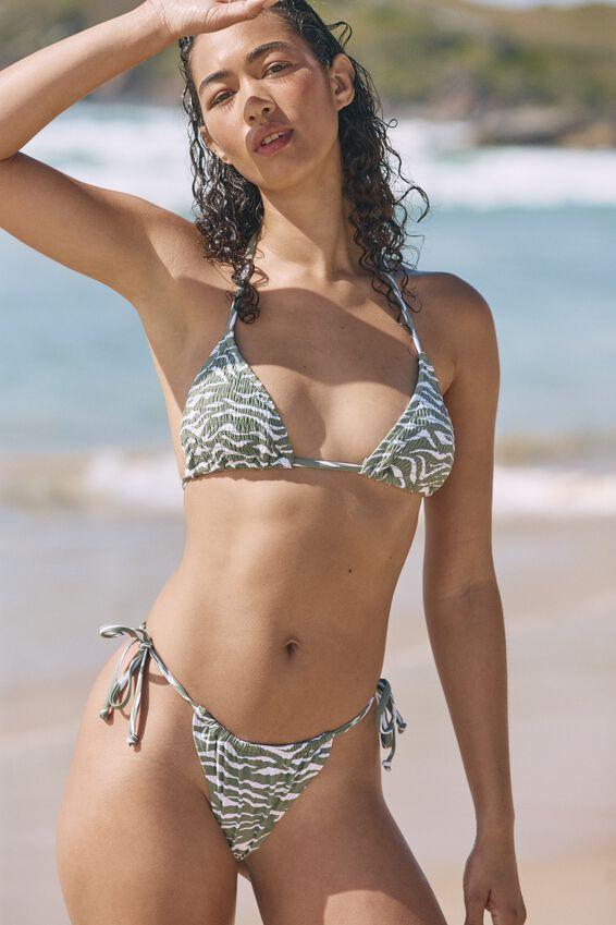 Gathered Tie Brazilian Bikini Bottom, KHAKI ZEBRA
