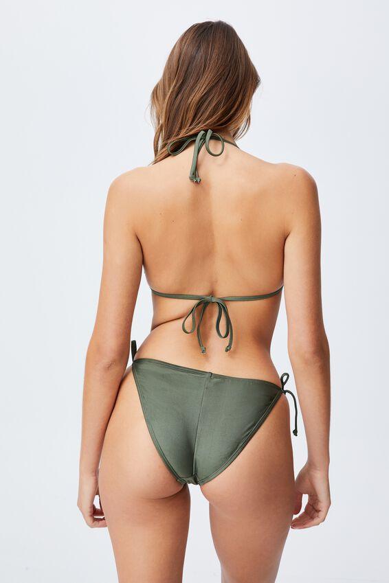 Tie Side Hipster Cheeky Bikini Bottom, WARM KHAKI SHIMMER