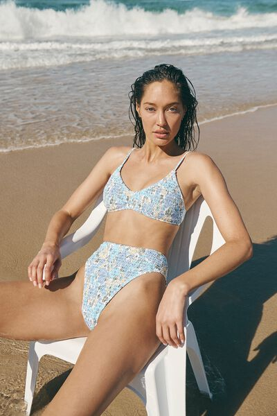U Crop Bralette Bikini Top, RETRO FLORAL BLUE SHIRRED