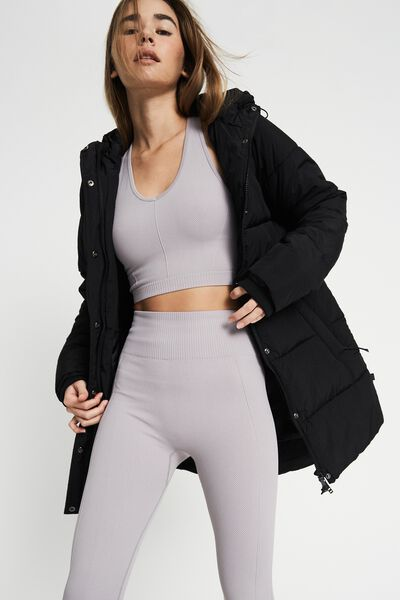 The Recycled Mother Mid Length Puffer Jacket, BLACK