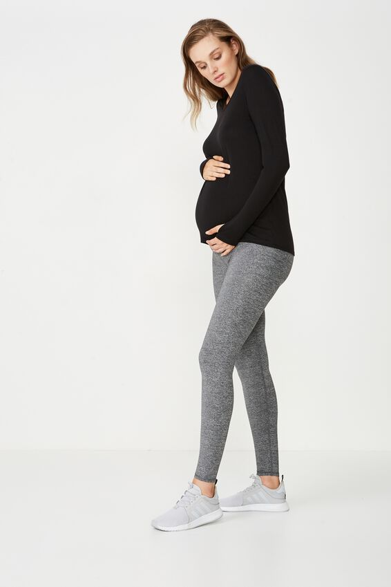 Maternity Long Sleeve Sports Top, BLACK