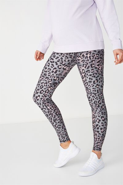 Maternity Printed Core Tight, LOVELY LEOPARD THISTLE