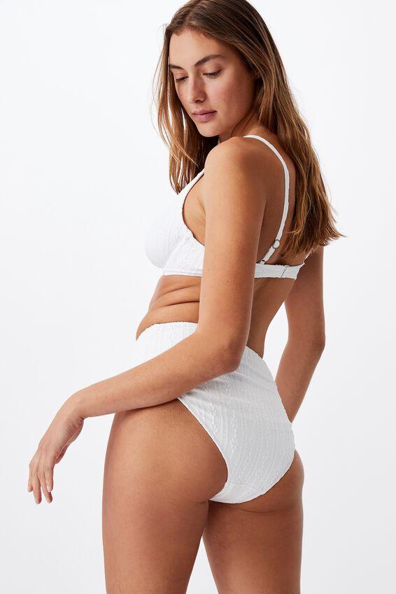 Half Wire Bralette Bikini Top, WHITE BROIDERIE V