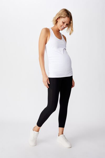 Maternity Stripe Mesh 7/8 Tight, BLACK