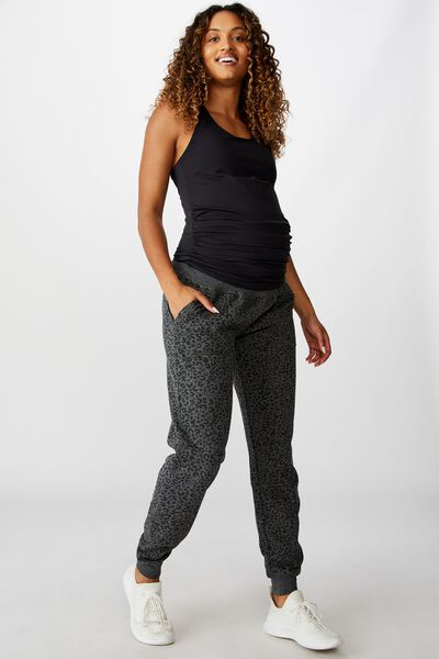 Maternity Gym Trackie, CHARCOAL LEOPARD