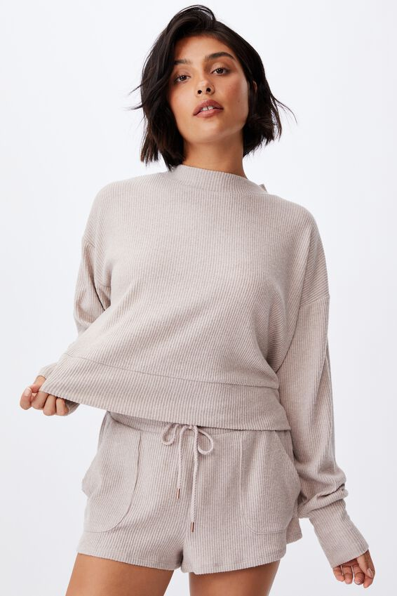 Super Soft Long Sleeve Crew, MUSHROOM MARLE RIB