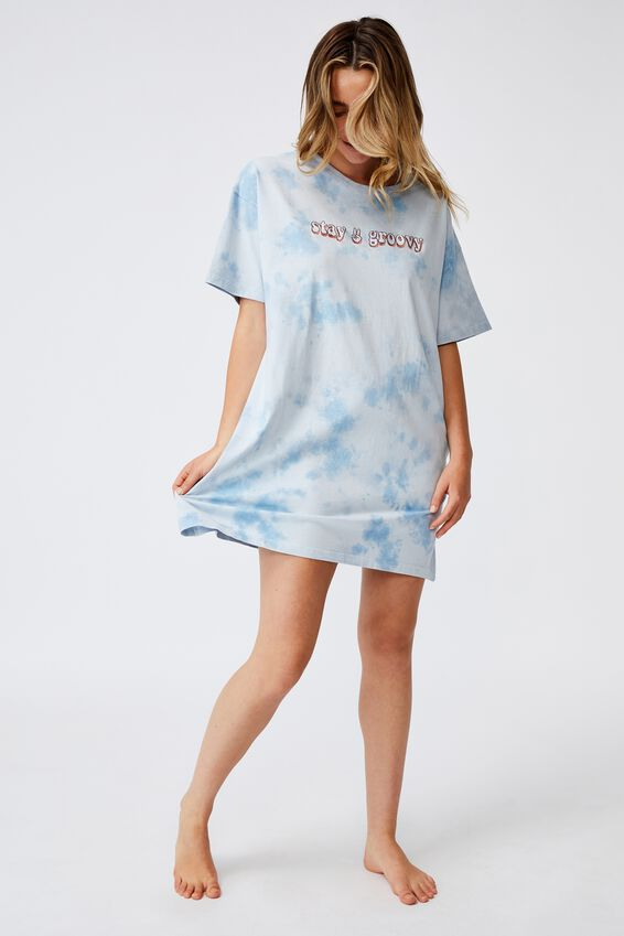 Organic Cotton 90S T-Shirt Nightie, STAY GROOVY TIE DYE
