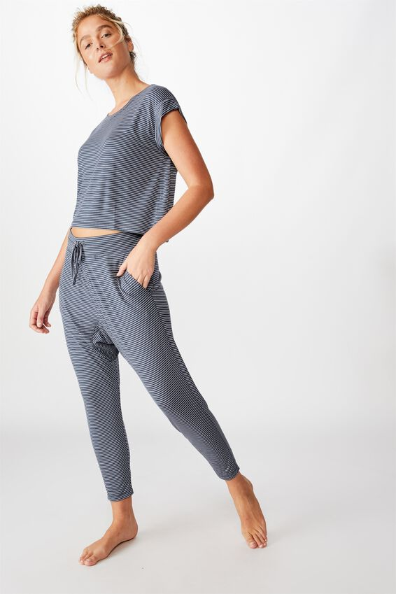 Sleep Recovery Drop Crotch Pant, THIN STRIPE IRON