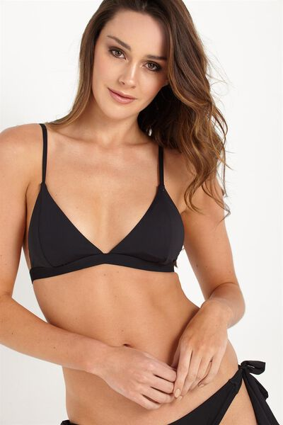 Fixed Triangle Bikini Top, BLACK