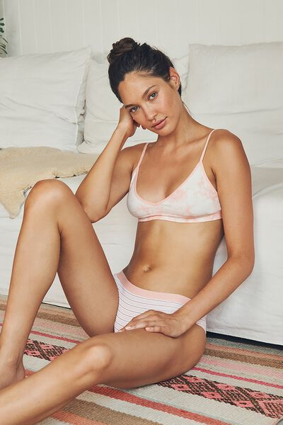 Seamfree Triangle Bralette, WASHED CAMEO PINK TIE DYE