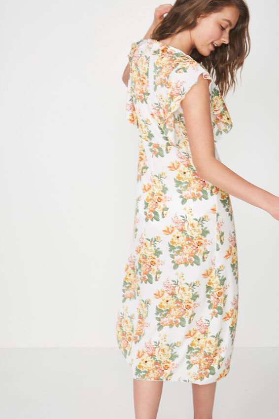 Ruffle Gown, YELLOW SUPER BLOOM/WHITE