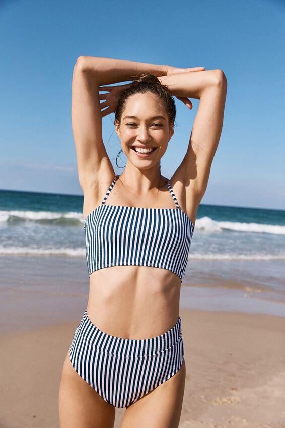 Highwaisted Banded Cheeky Bikini Bottom, BLUE STRIPE