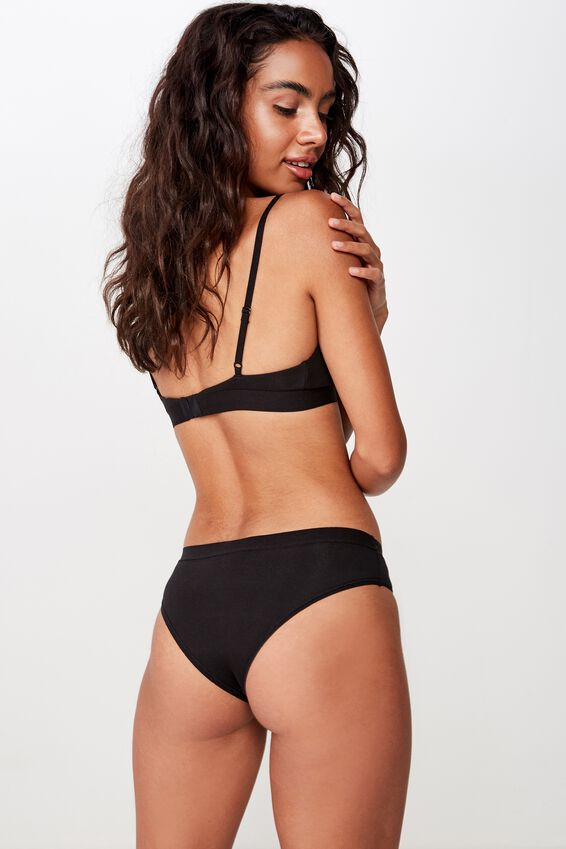 Cotton Rib Brasiliano Brief, BLACK