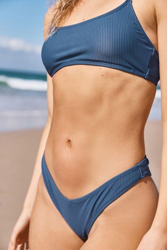 High Side Brazilian Bikini Bottom, MARINA BLUE RIB