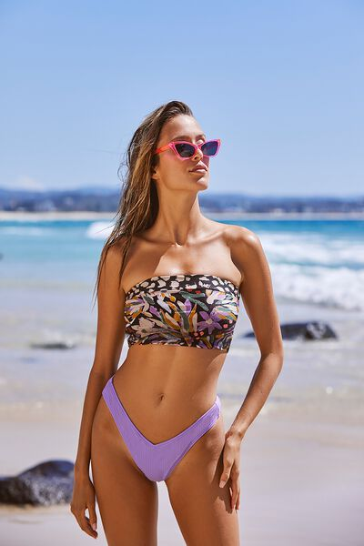 Tessa Spliced Longline Bandeau Bikini Top, BRUSHED FLORAL