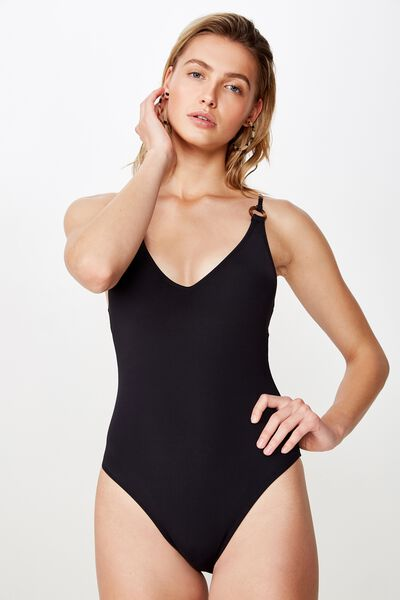 Ring Front One Piece Cheeky, BLACK