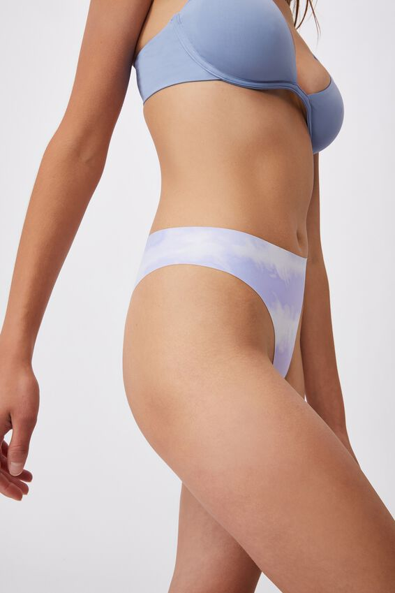 The Invisible High Cut Brasiliano Brief, LINEAR TIE DYE CHALKY LAVENDER PRINT