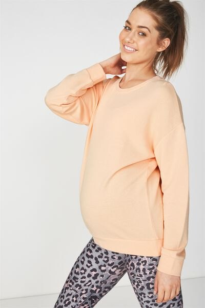 Maternity Active Crew Long Sleeve Top, BLEACHED APRICOT