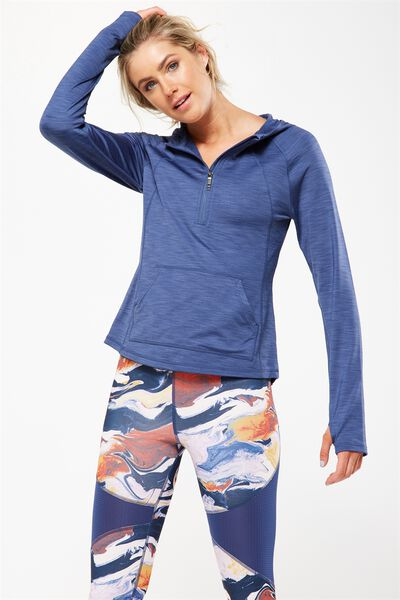 Warm & Fuzzy Half Zip Long Sleeve Top, ALPINE BLUE MARLE