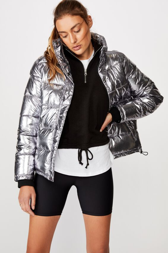 The Mother Puffer Jacket, METALLIC