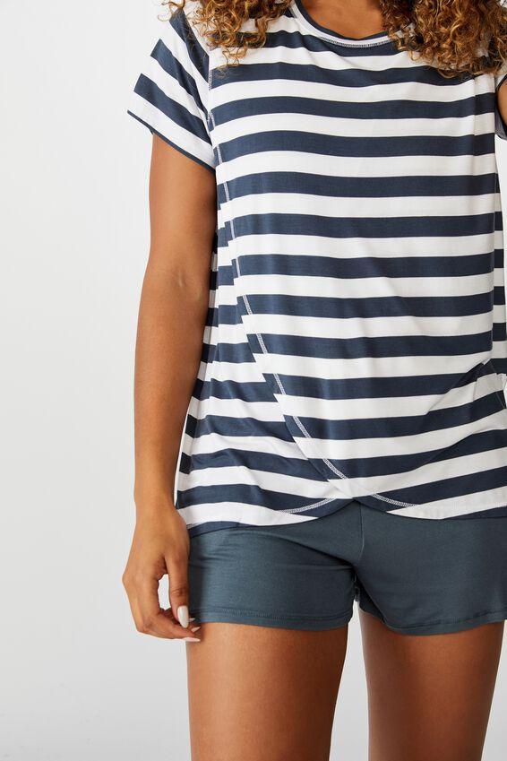 Sleep Recovery Maternity T Shirt, THICK STRIPE IRON