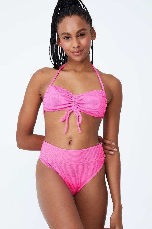 Highwaisted Cheeky Bikini Bottom, AURORA PINK CRINKLE
