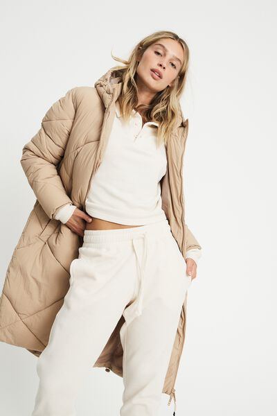 The Recycled Mother Longline Puffer Jacket, CUBAN SAND