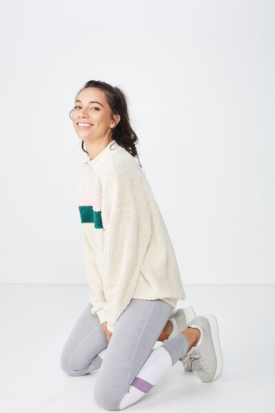 Blocked Sherpa Crew Fleece Top, GARDENIA/JOLLY GREEN/PINK SHERBERT
