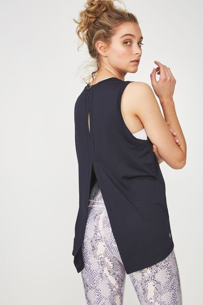 Split Back Tank Top, NAVY