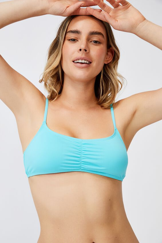 Gathered Front Backless Bikini Top, TURQUOISE