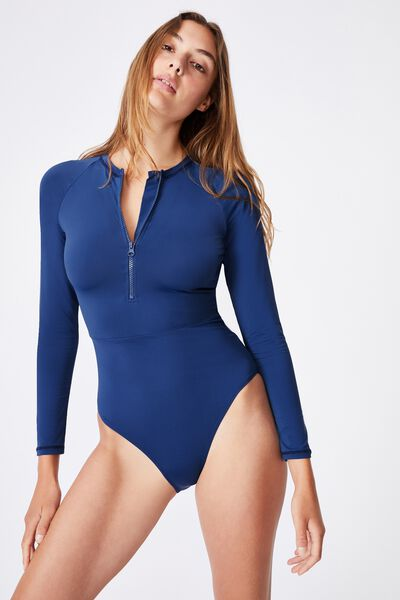 Zip Front Long Sleeve One Piece Full, MARINA BLUE