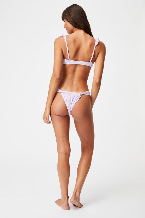 U Crop Bralette Bikini Top Jacquard, ORCHID MIST JACQUARD/FRILL