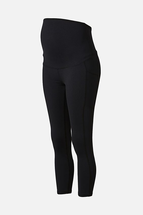 Maternity Rib Pocket 7/8 Tight, BLACK RIB
