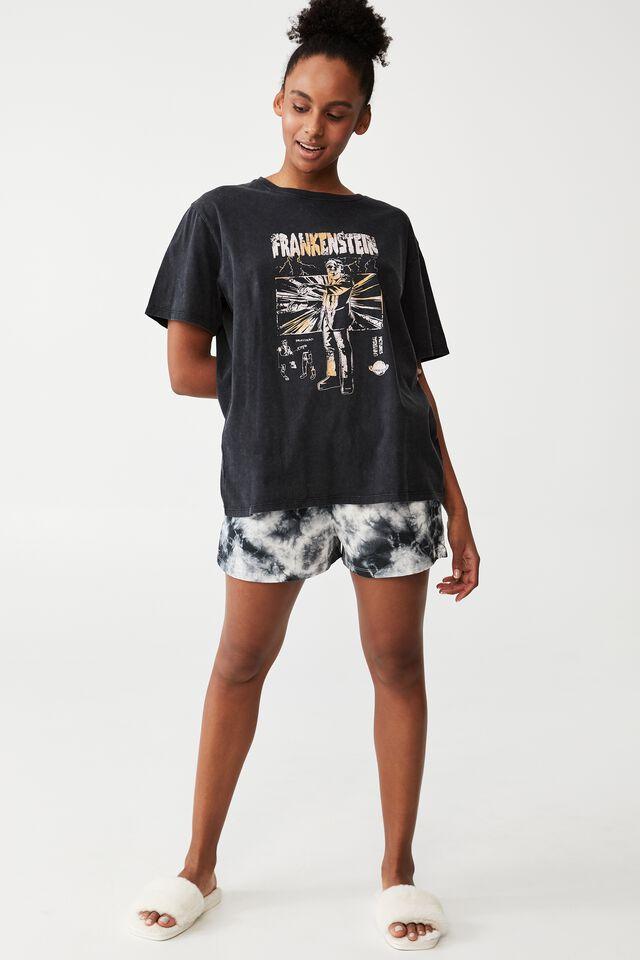 Jersey Relaxed Bed T-Shirt, LCN UNI FRANKENSTEIN/WASHED BLACK
