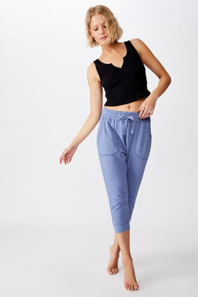 Cropped Gym Track Pants, ULTRA MARINE MARLE